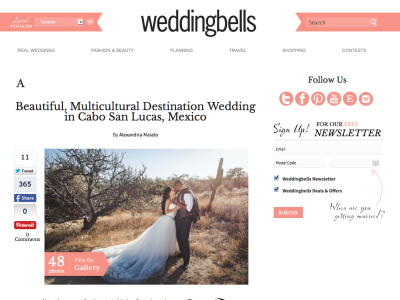 We are featured in WeddingBells Magazine!